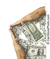 Save up money - isolated hands and US dollars made from my...
