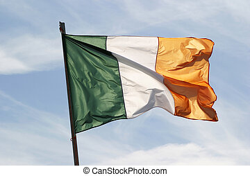 Irish Flag In The Wind - The Irish flag waving in a stiff...