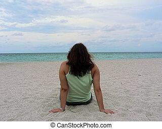 Girl on the beach - Girl on Miami Beach