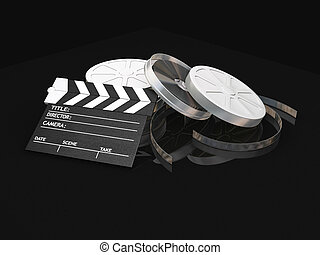 Movie items - 3D render of film reels and clapper board