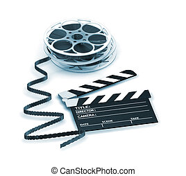 Movie night - 3D render of a clapper board and film reels