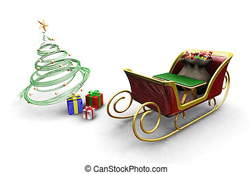 Santas sleigh - 3D render of Santas sleigh with a Christmas...