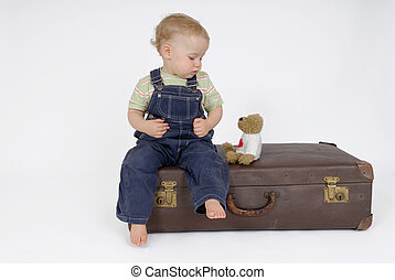 Two friends - Old suitcase with little child
