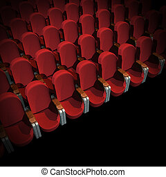 Cinema Seat - Red Seat at Movie Show (3D image)