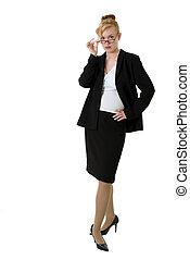 tillitsfull, kvinna, affär, glasögon
