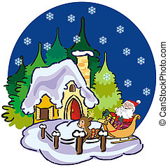 santa claus and winter landscape