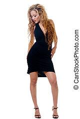 Little black dress - full body of woman is sexy little black...