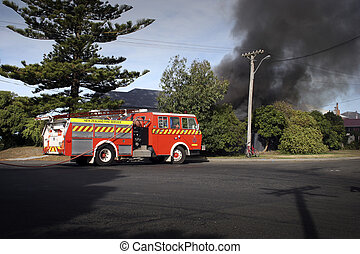 House Fire 02 - Firemen attend a house fire in Haumoana, New...