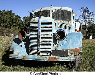 Old Bedford Truck 2 - Old truck sitting in a paddock in...