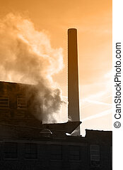 Smokestack closeup of industrial factory