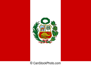 Flag of Peru - Peruvian flag with National Emblem