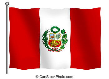 Flag of Peru Waving - Flag of Peru waving With Clipping Path...