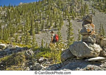 inukshuk trail mark - Inukshuk trail marker in the...