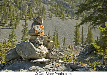 Trail marker - Inuksuk trail marker in the Kananaskis, near...