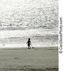 tengerpart, gyermek