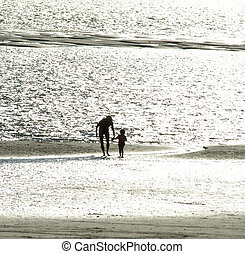Adult with Child on the Beach