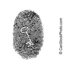 Key fingerprint - Finger or thumbprint with embedded key -...