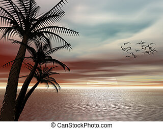 Tropical sunset. - Colorful background, illustration of a...
