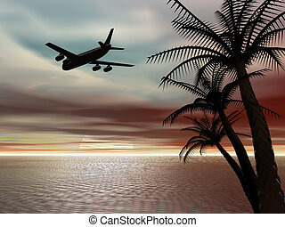 Tropical sunset with airplane. - Background, illustration of...