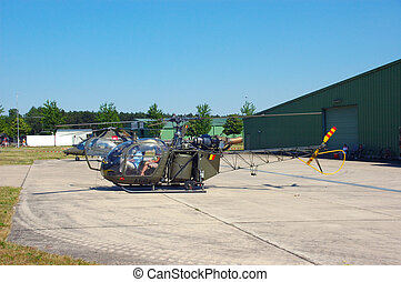 Military industry, helicopter - Helicopter parked, ready for...