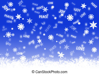 Good wishes snowfall - Blue background with snowflakes and...