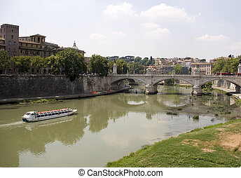 tiber - bridge over the tiber rome, italy