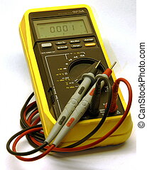 Digital Multimeter - A digital multimeter (DMM) on a white...