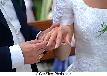 marriage - a man puts the ring on her finger