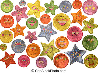 Smiling Stickers - Smiling assorted happy face stickers...