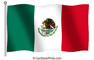 Flag of Mexico Waving - Flag of Mexico waving With Clipping...