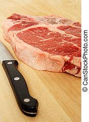 Ribeye steak being prepared for cooking
