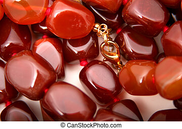 Carnelian - Digital photo of several Carnelian necklaces.