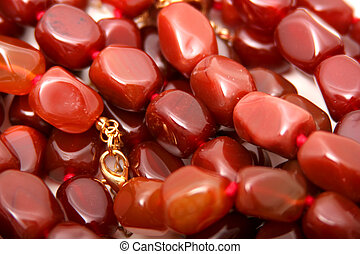 Carnelian - Digital photo of several Carnelian necklaces