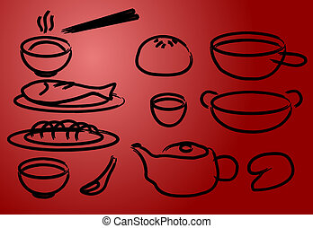 Chinese cuisine icons, done in painted brush style