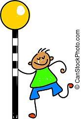 zebra crossing kid - little boy stood at a zebra crossing -...