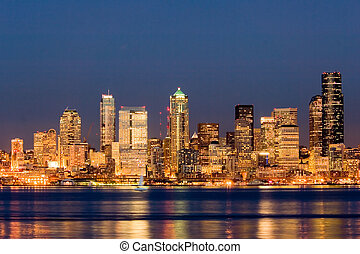 Seattle at night - View of nighttime Seattle across Puget...