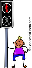 pelican crossing kid - learning the highway code - toddler...