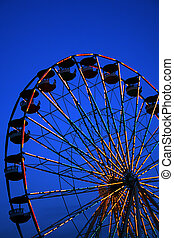 Ferris Wheel at Dusk - Abstract of ferris wheel at dusk