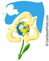 Keep Earth - recycle - Protect the World. Ecology concept....