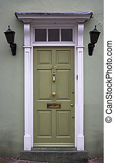 Green front door - the picture was taken in London.