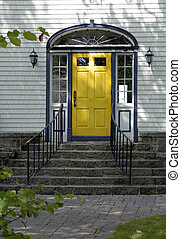 Yellow Door - Yellow Front Door On An Old North American...