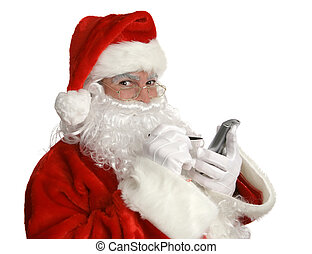 Santa Nice List PDA - Santa Clause smiling as he checks his...