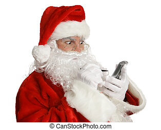 Naughty List on PDA - Santa Clause checking his naughty list...