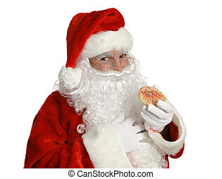 Santa With Christmas Cookie - Isolated Santa Clause eating a...