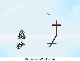 Spirit - Tree, Cross and dove in barren landscape