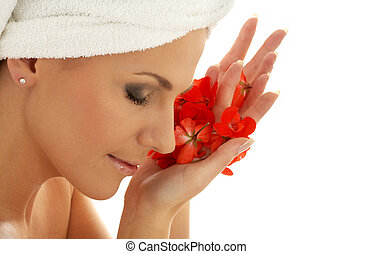 red petals - lovely woman with red flower petals