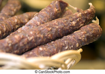 sausage in wicker basket - gourmet sausage in wicker basket...