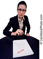 Declined - Female bureaucrat declining your ...