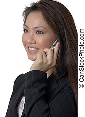talking on cell phone - pretty asian woman on white talking...