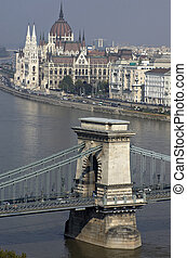 Danube and hungarian parliament and part of chain bridge. -...